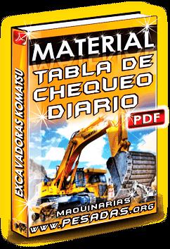 Material Tabla de Chequeo Diario de Excavadoras Hidráulicas Komatsu