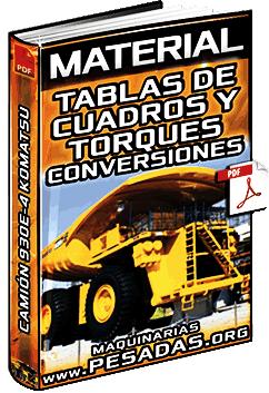Tablas de Torques, Conversiones y Multiplicadores del Camión 930E Komatsu