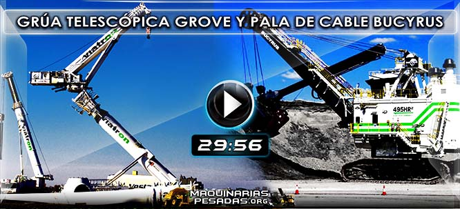 Vídeo Documental de Grúa Grove GTK1100 y Pala de Cable Eléctrica Bucyrus 495HR