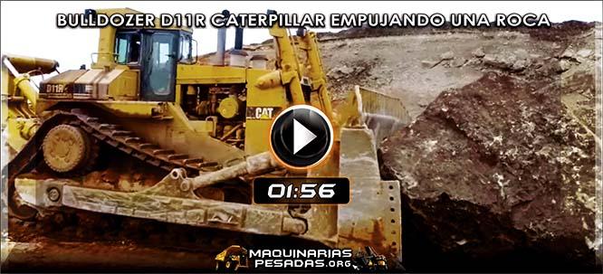 Vídeo del Bulldozer Minero empujando una Roca Gigante