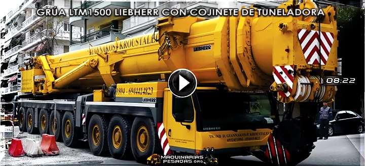 Vídeo de Grúa Móvil LTM1500-8.1 Liebherr con Cojinete Gigante de una Tuneladora