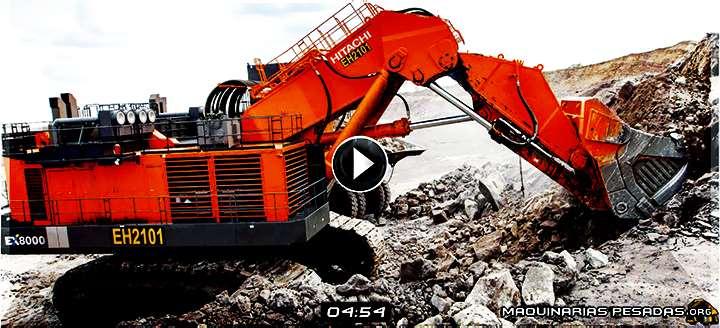 Vídeo de Pala Hidráulica EX8000-6 Hitachi – Ensamblaje de Componentes y Operación