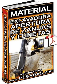 Material de Apertura de Zanjas y Cunetas con Excavadoras Hidráulicas – Pasos
